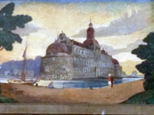 Vadstena slott, målning på centralstationen i Stockholm