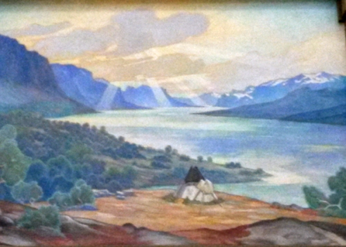 Saltoluokta, målning på centralstationen i Stockholm